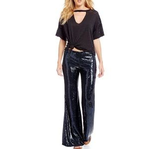 Free People Minx Sequin Pants In Midnight Blue